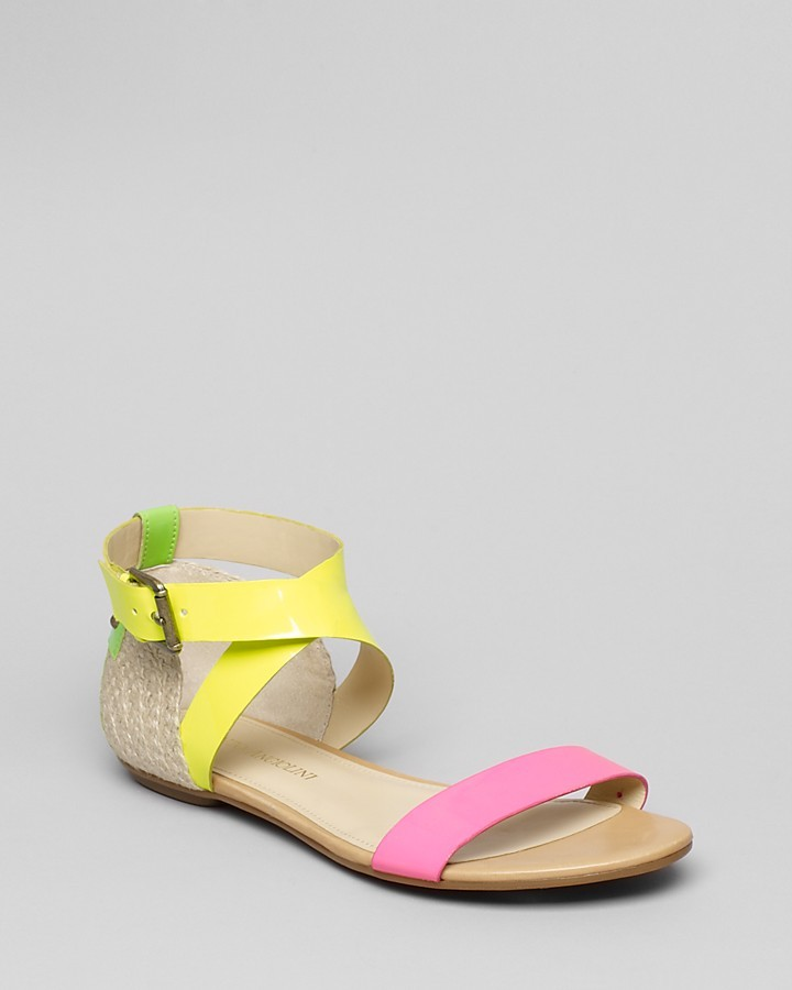 Enzo Angiolini Ankle Strap Colorblock Flat Sandals - Katira