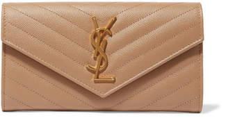 Saint Laurent Monogramme Quilted Textured-leather Wallet - Beige