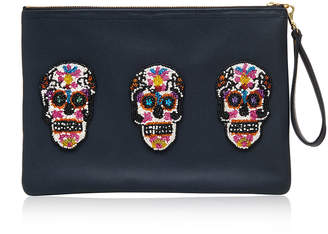 Sonora Tea & Tequila Sugar Skulls Vegan Leather Clutch Bag - Large - Navy