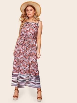 785a39b6f4 Shein Plus Floral Print Split Maxi Cami Dress