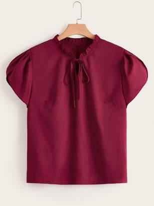 Shein Plus Solid Frill Trim Petal Sleeve Tie Neck Top