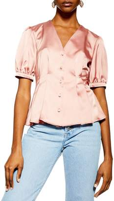 Topshop Puff-Sleeve Satin Pleated Button Top