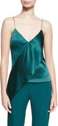Cushnie et Ochs Paulina Silk Satin Drape-Front Camisole Top