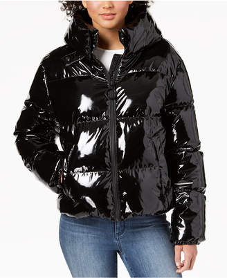 KENDALL + KYLIE Cropped Shiny Puffer Coat