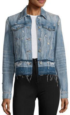 J BRAND Deena Cropped Released Hem Denim Jacket $248 thestylecure.com