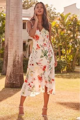 Lipsy Amy Print Cami Wrap Dress - 4 - White