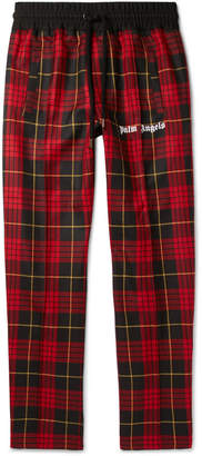 Palm Angels Logo-Print Checked Virgin Wool Drawstring Trousers