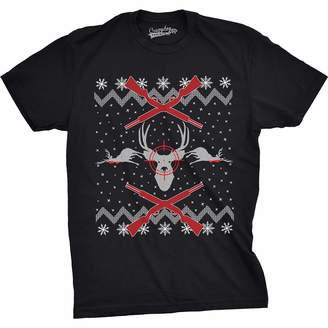 Crazy Dog T-shirts Crazy Dog Tshirts Mens Deer Hunt Ugly Christmas Sweater Funny Hunting Holiday T shirt