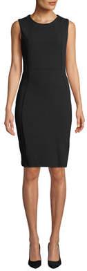 Neiman Marcus Seamed Sleeveless Sheath Dress