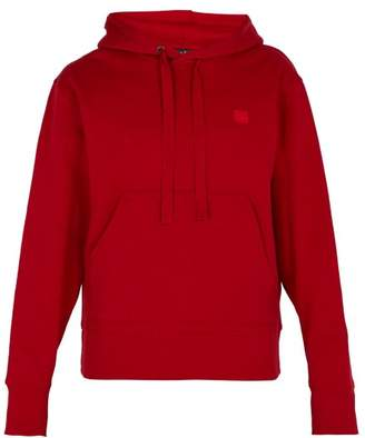 Acne Studios Ferris Face Cotton Hooded Sweatshirt - Mens - Red
