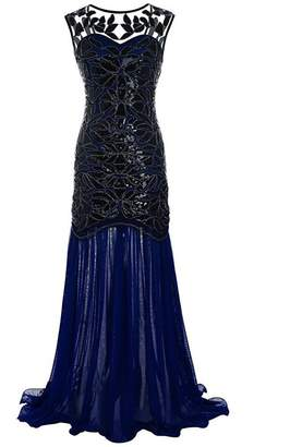 M MAYEVER 1920s Long Prom Dresses Sequins Beads Gatsby Evening Party Gown & Headband (S, Black & Gold)