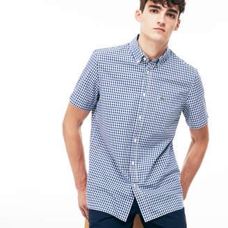 Lacoste Men's Regular Fit Gingham Poplin Shirt