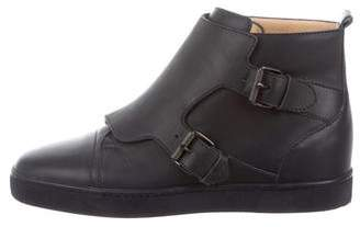 Christian Louboutin Leather Monk Strap Sneakers