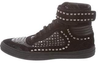 Diesel Black Gold Suede Studded Sneakers