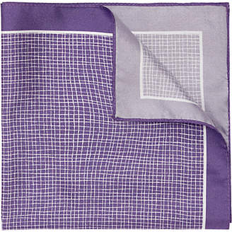 HUGO BOSS HUGO by Grid Print Silk Pocket Square, Purple
