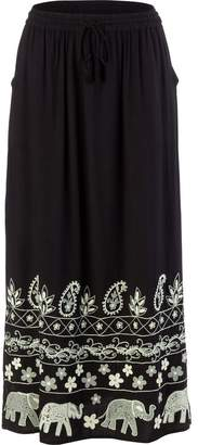 A.N.A Drawstring Elastc Long Maxi Skirt with Elephant Embroiderey - Women's