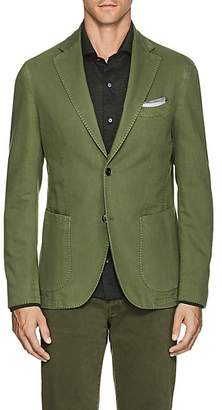 Barneys New York Men's Basket-Weave Cotton-Linen Two-Button Sportcoat - Olive