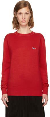 MAISON KITSUNÉ Red Tricolor Fox Patch Sweater