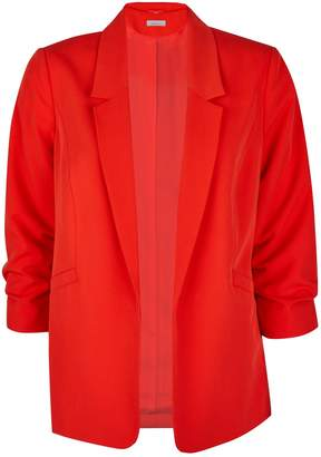 Dorothy Perkins Womens Petite Red Ruched Sleeve Jacket