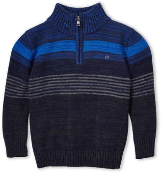 Calvin Klein Boys 4-7) Marled Stripe Long Sleeve Zip-Up Sweater