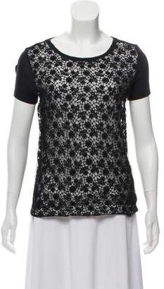RED Valentino Lace-Accented Cap Sleeve T-Shirt