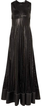 Loewe Pleated Lace-trimmed Leather Maxi Dress - Black