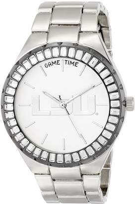 Game Time Women's COL-WIN-LSU Winner Baguette Stone Bezel Analog Display Japanese Quartz Silver Watch