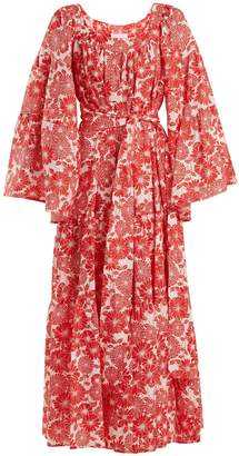 Lisa Marie Fernandez Peasant floral-print linen dress