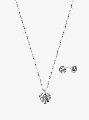 Michael Kors Pave Silver-Tone Heart Necklace And Earrings Set