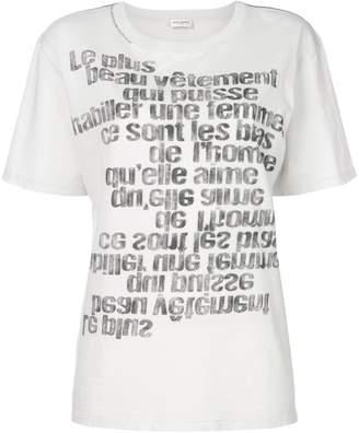 Saint Laurent mirrored slogan print T-shirt