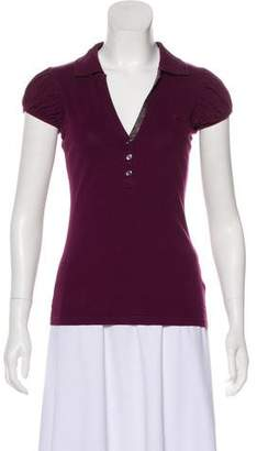 Burberry Ruche-Accented Short Sleeve Top