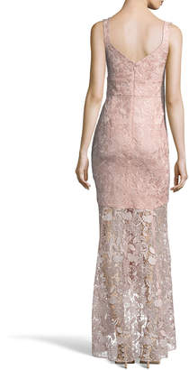Nicole Miller New York Floral Lace High-Low Gown
