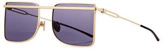 Calvin Klein Metal Square Aviator-Style Sunglasses