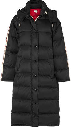 Gucci Oversized Intarsia-trimmed Quilted Shell Down Coat - Black