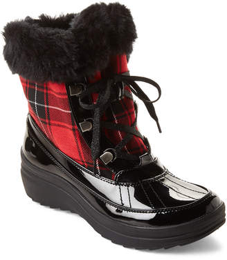 AK Anne Klein Sport Red Gayla Patent Lace-Up Boots