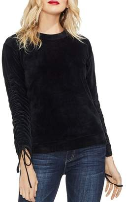 Vince Camuto Drawstring-Sleeve Velour Top