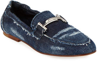 Tod's Flat Denim Horsebit Loafers