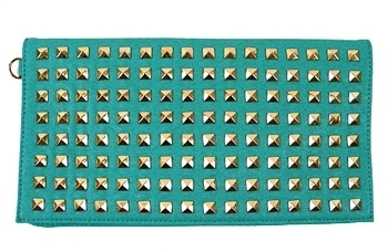 Turquoise Scandicci Studded Clutch