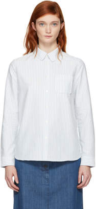 A.P.C. Blue and White Striped Pocket Shirt
