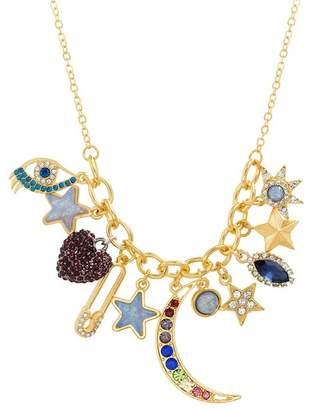 Steve Madden Crystal Glass Charm Necklace