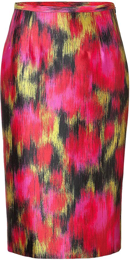 Michael Kors Wool-Silk Ikat Pencil Skirt in Rose/Leaf/Black