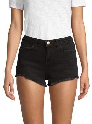 Miss Selfridge Fray-Trimmed Denim Shorts