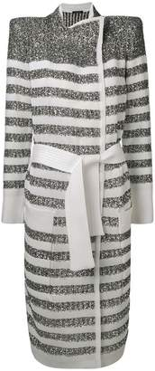 Balmain striped cardi-coat
