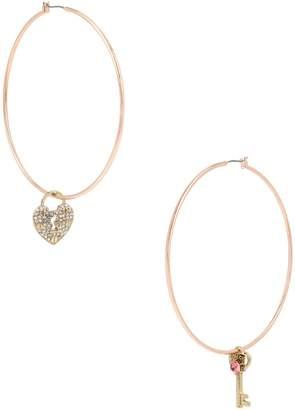 Betsey Johnson Boost Pink Crystal Hoop Earrings