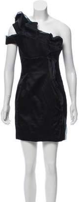 Paule Ka One-Shoulder Silk Dress w/ Tags