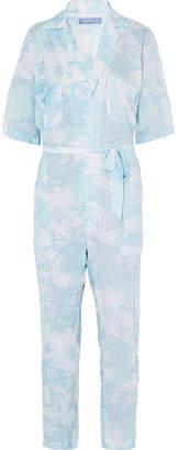 Paradised - Printed Voile Jumpsuit - Light blue