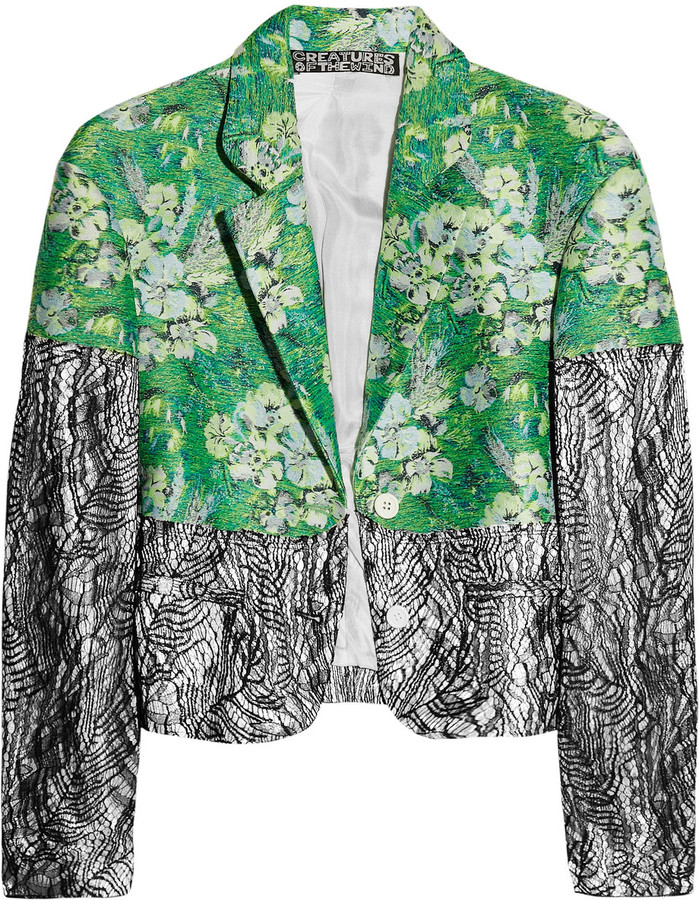 Creatures of the Wind Floral jacquard and lace jacket