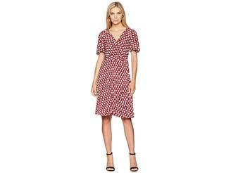 Donna Morgan Geo Jersey Wrap Dress with Flutter Sleeve
