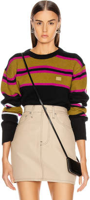 Acne Studios Nimah Stripe Face Sweater in Black Multicolor | FWRD