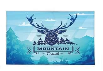 Hunter Interestlee Fleece Throw Blanket Cabin Decor Vintage Deer Label Wilderness Retro Hipster Graphic Sky Blue Dark Blue Turquoise
